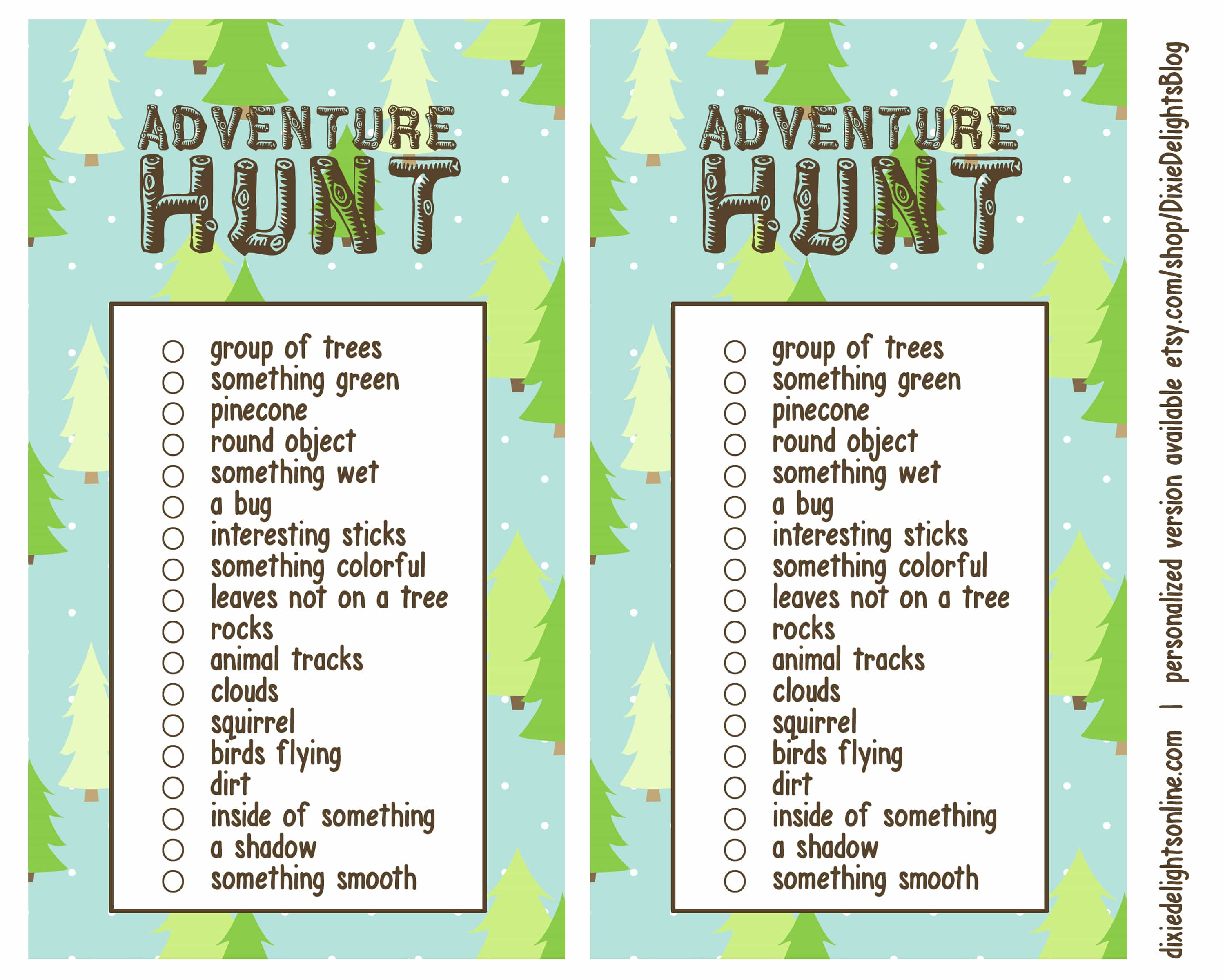 photo relating to Camping Scavenger Hunt Printable identify 62 PRINTABLE Tenting SCAVENGER HUNT