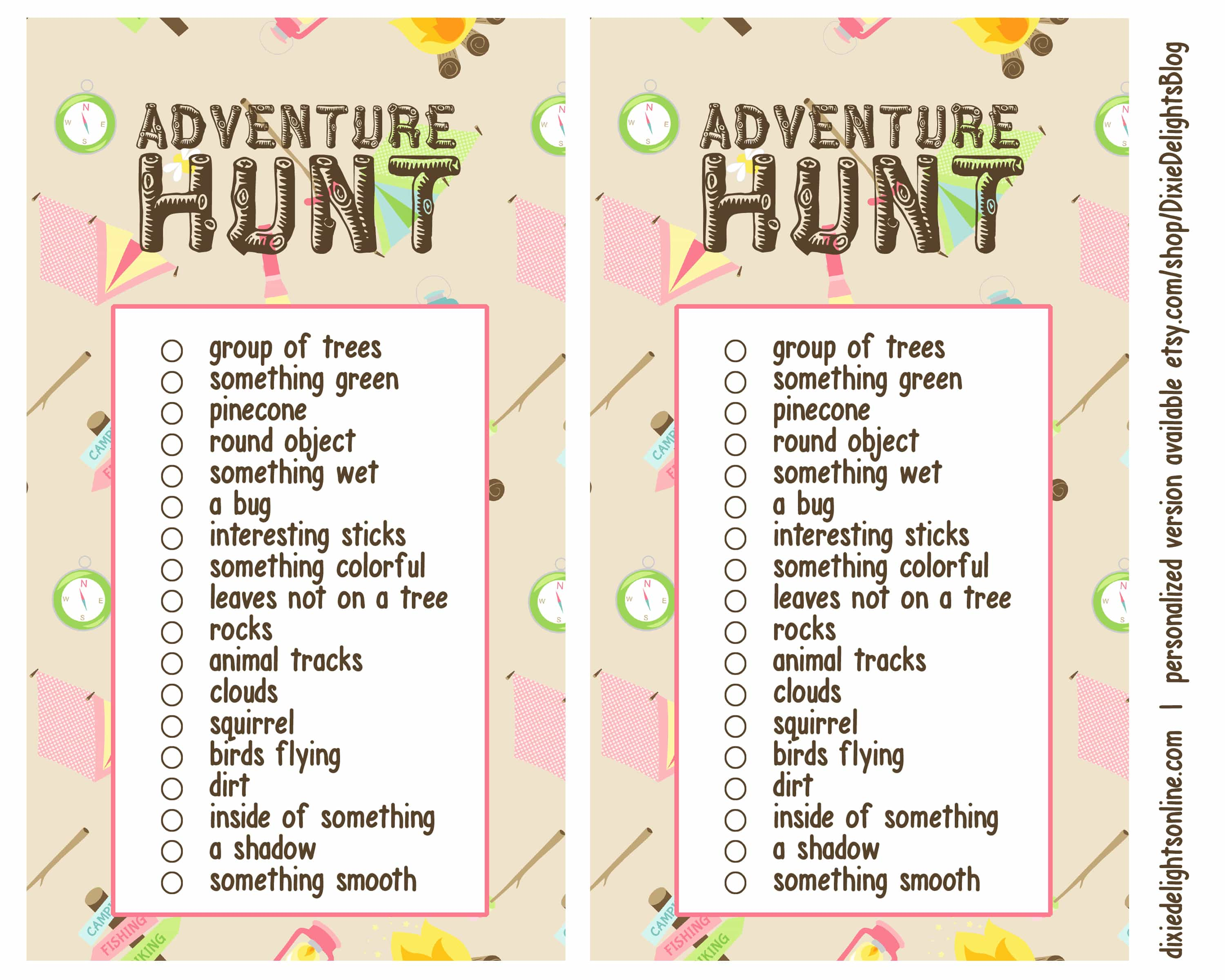 photograph regarding Camping Scavenger Hunt Printable titled Experience Hunt Out of doors Scavenger Hunt Cost-free Printable