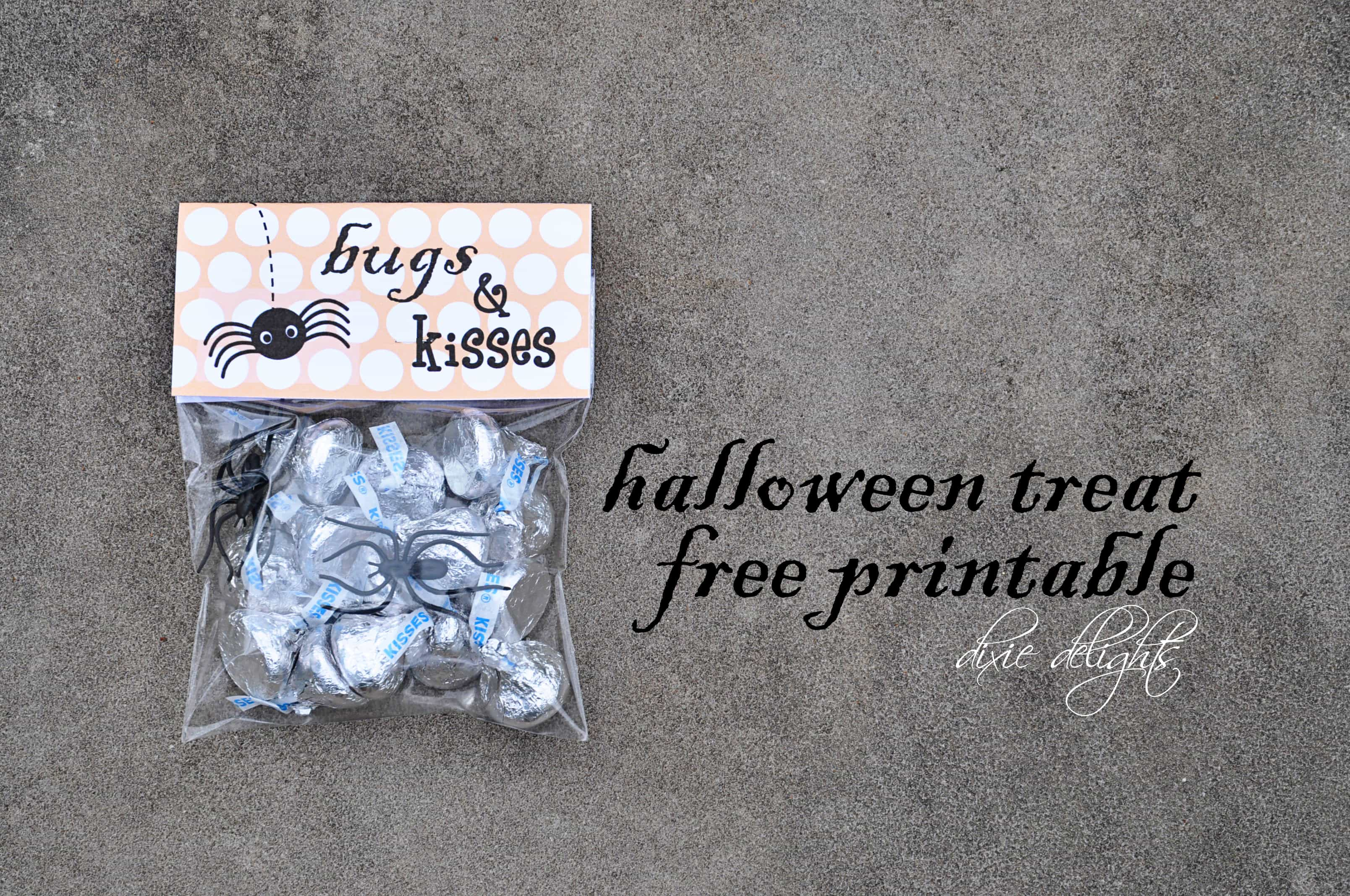 image relating to Bugs and Kisses Printable referred to as Insects Kisses Halloween Take care of Free of charge Printable Dixie Delights