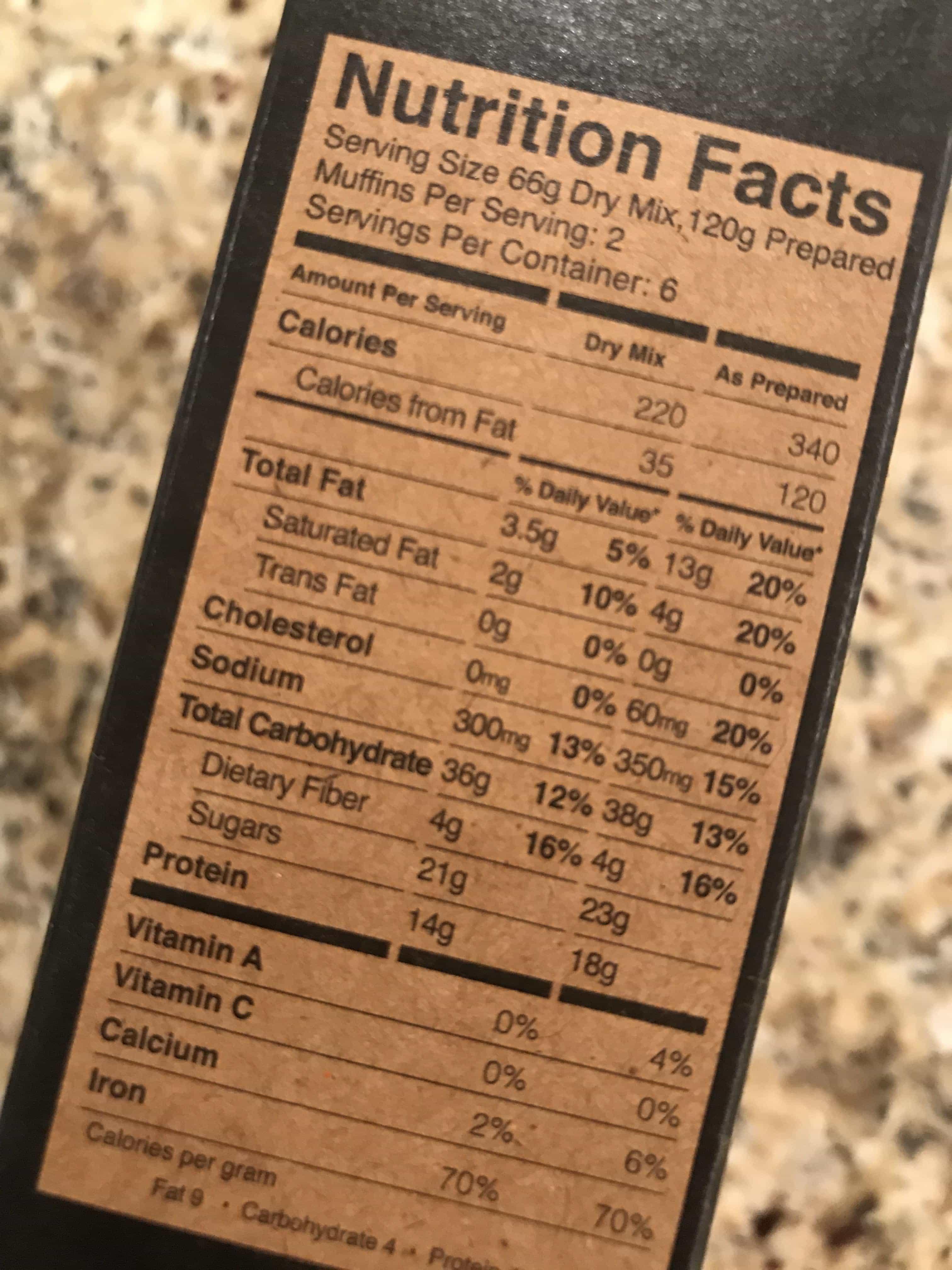 kodiak frozen waffles nutrition facts