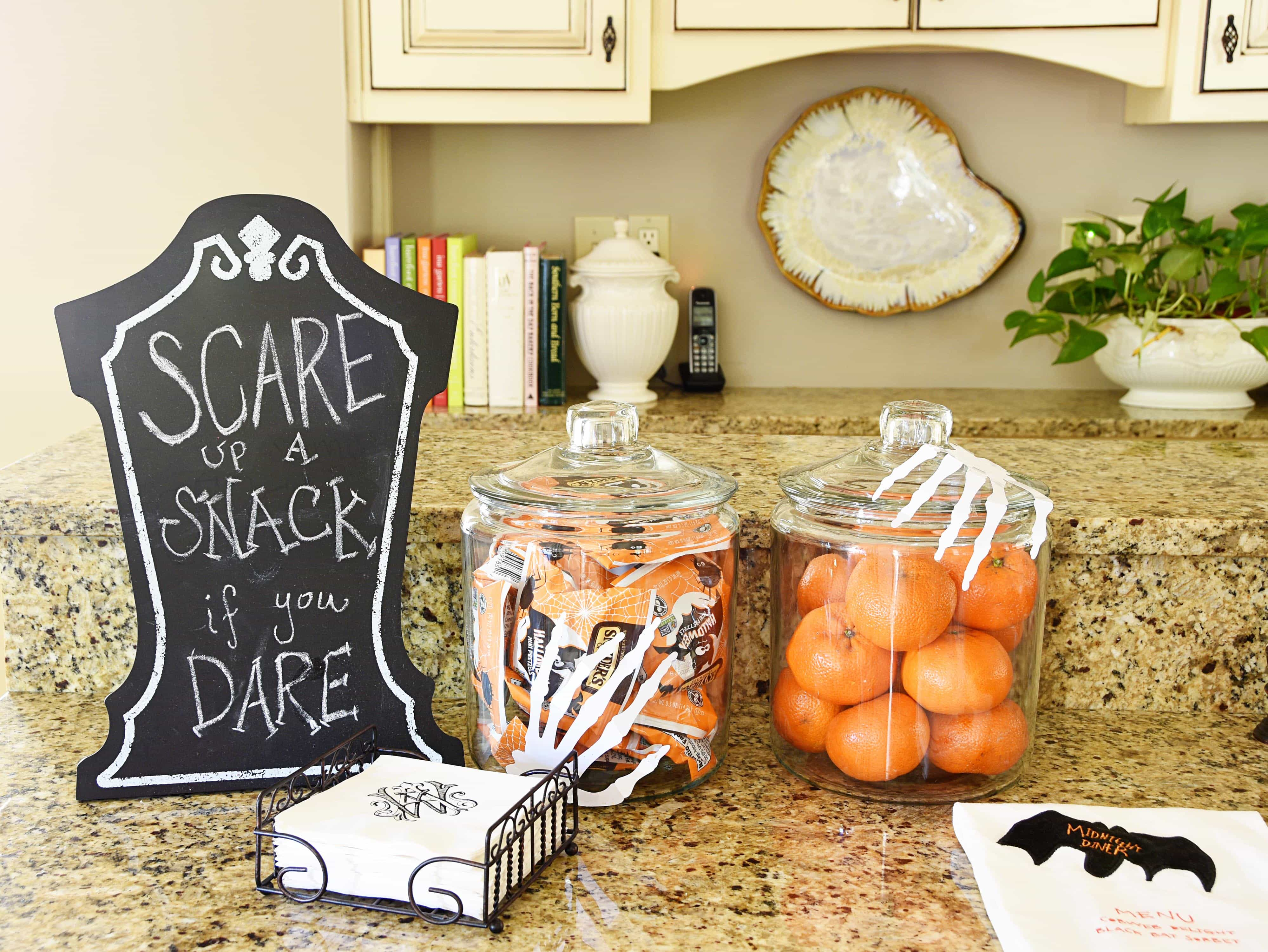 Fresh On the kitchen counter I went with sweet and salty snacks this year Little bags of Halloween pretzels and clementines fit the bill and are useful to boot