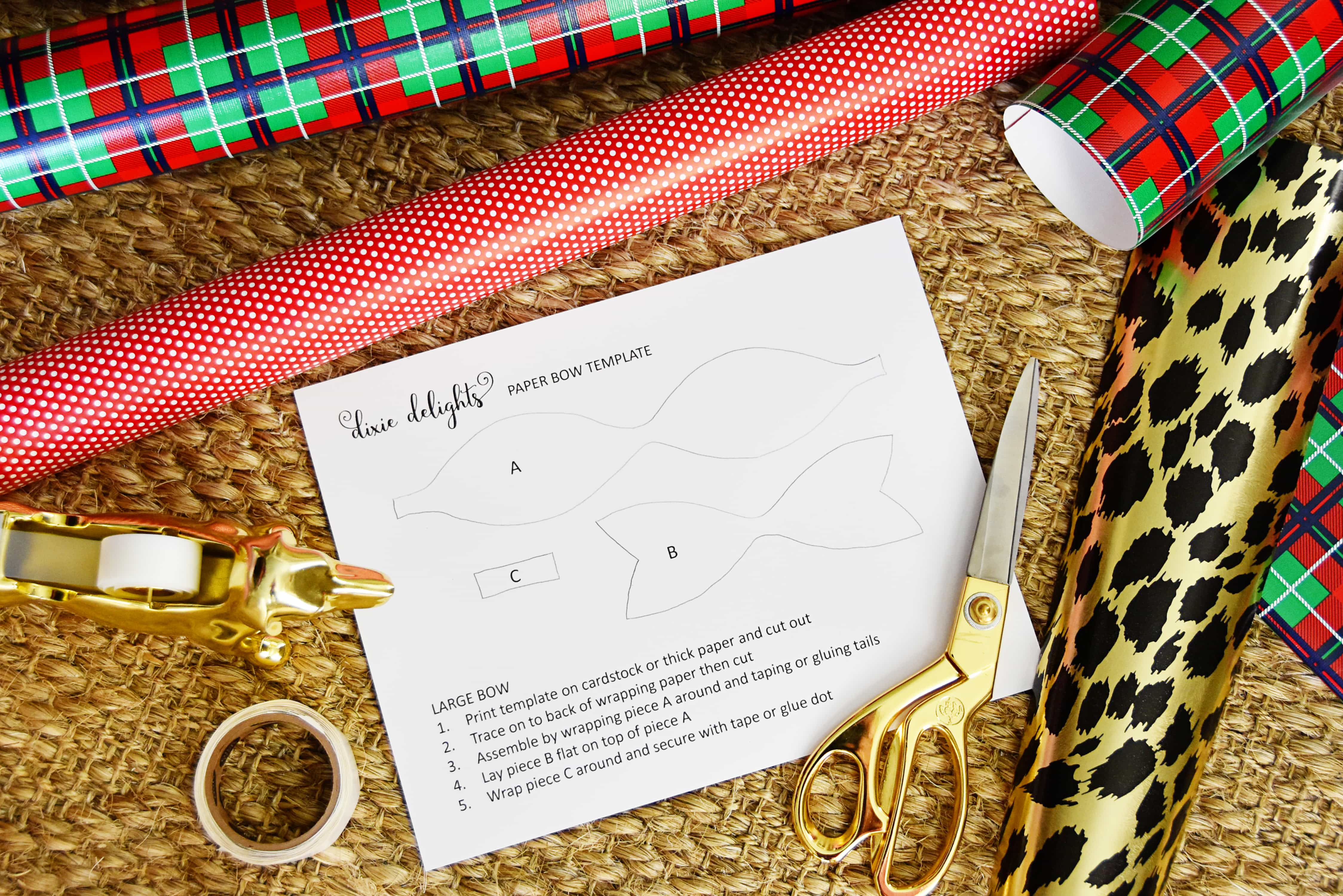 Christmas Wrapping Paper Bow Template Free Printable Dixie Delights